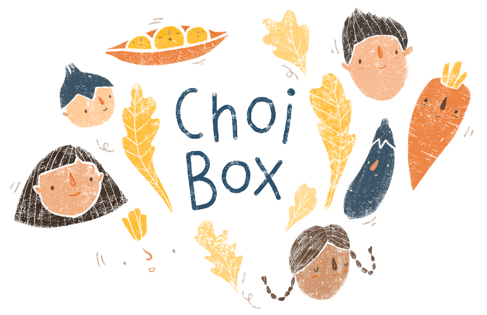 "Illustration of vegetables and peoples' heads against a white background with the words ""Choi Box"" in the middle"
