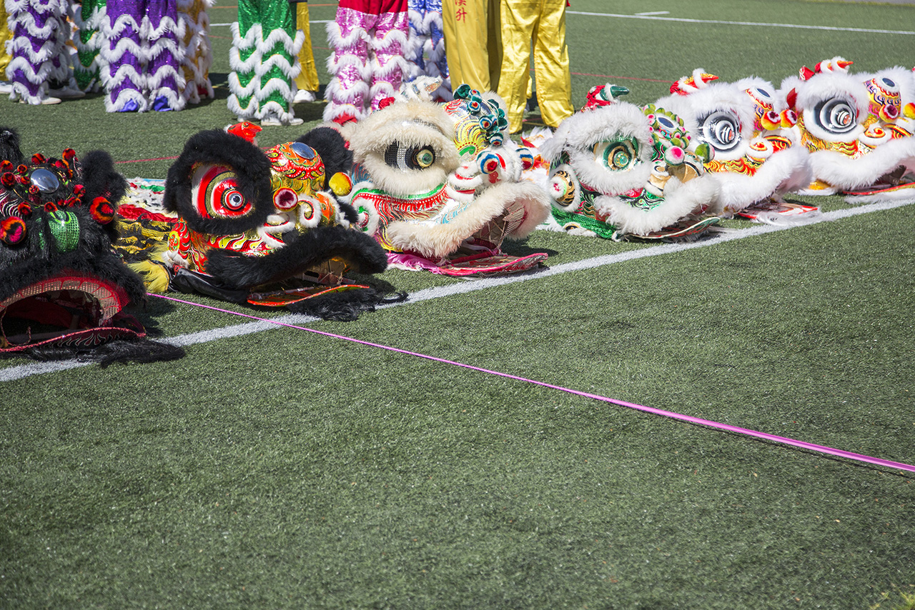 Lion dance heads on green turf (credit Clare Yow)