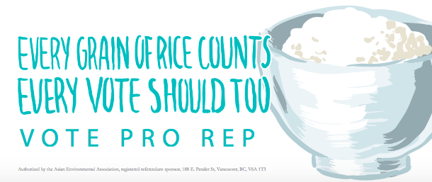 """Pro Rep flyer that says """"Every grain of rice counts. Every vote should too. Vote Pro Rep."""" with an illustration of a bowl of rice."""